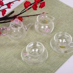 분홍꽃 유리 2인다기세트